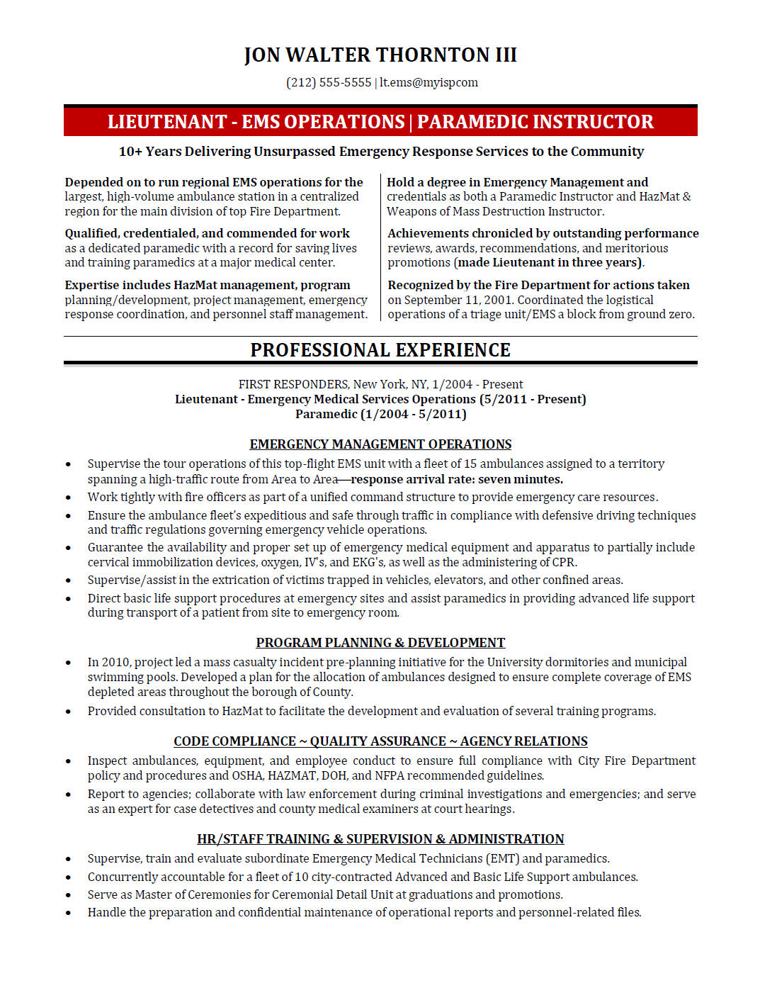 Awesome Emergency Management Resume Nyc Frieze - Best Resume ...